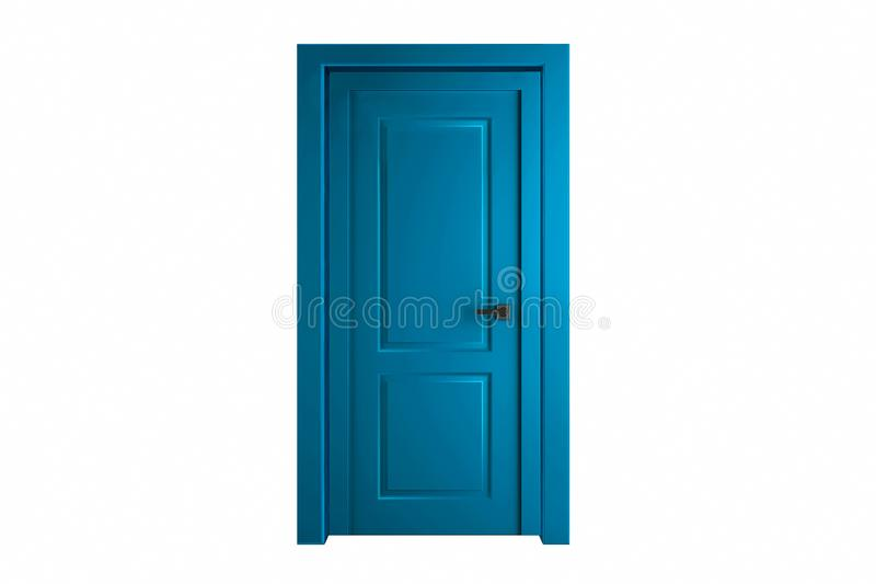 Modern blue room door isolated on white background.  royalty free stock photo