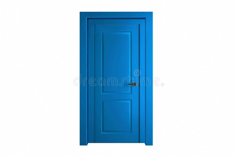Modern blue room door isolated on white background.  stock photography