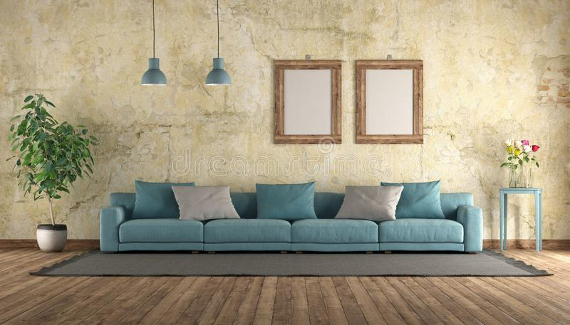 Modern blue sofa in a grunge room. Modern blue sofa in a old room with grunge wall - 3d rendering royalty free illustration