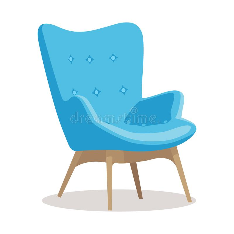 Modern blue soft armchair with upholstery - interior design element isolated on white background. Modern colorful soft armchair with upholstery. Armchairs for stock illustration