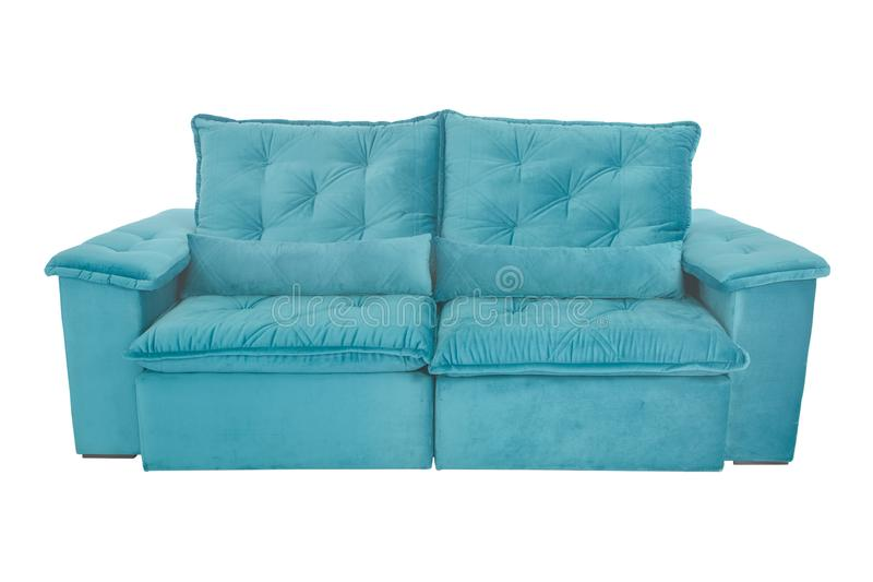Modern blue suede couch sofa isolated. On white background royalty free stock images