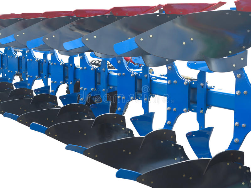Modern blue tractor plow row abstract isolated over white. Background stock photo