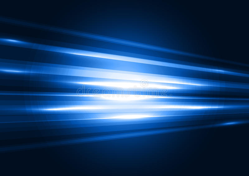 Modern blue transparent hi-tech speed of light abstract background template. Motion graphic trail. Night road concept stock illustration