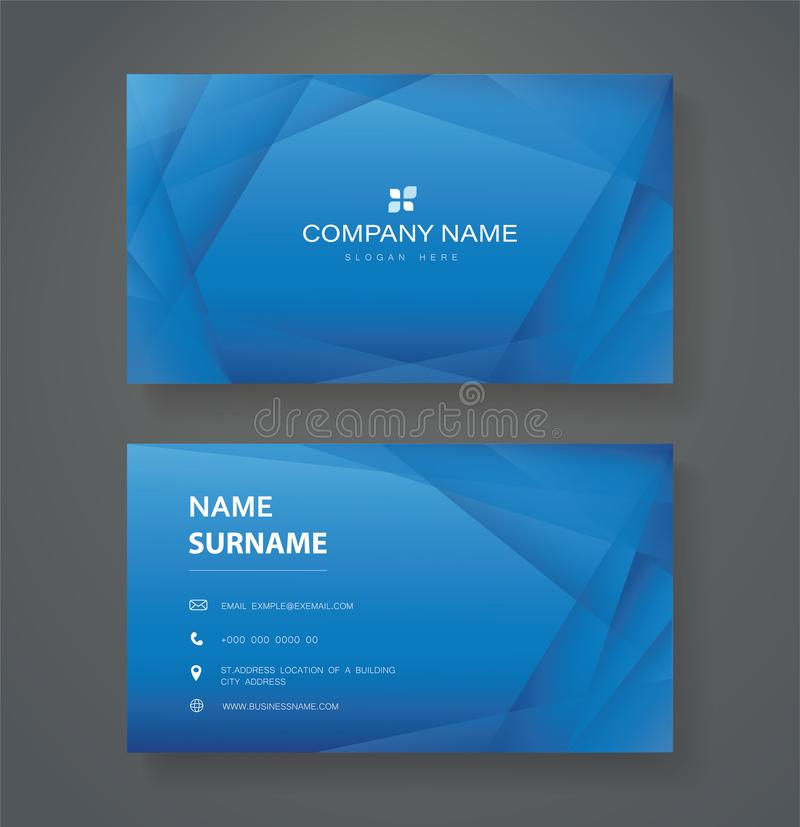 Modern blue triangle double sided business card template vector eps10.  royalty free illustration