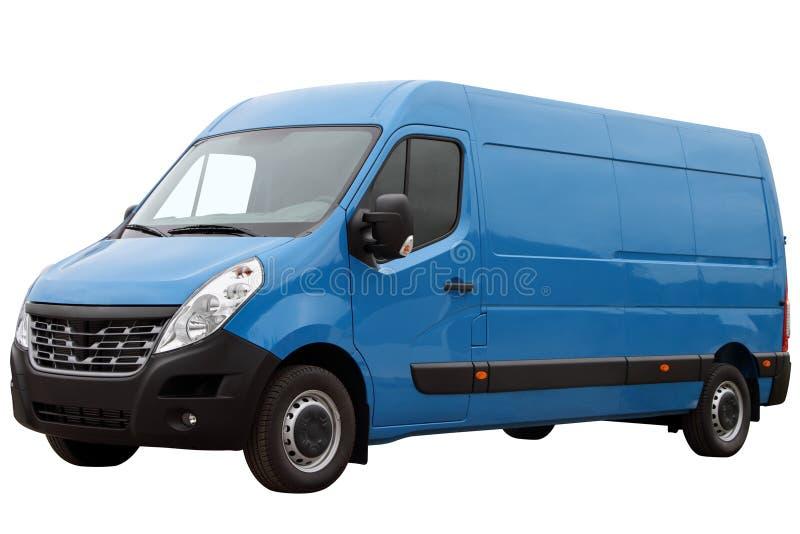 Modern blue van. Modern blue van, isolated on white background royalty free stock photo
