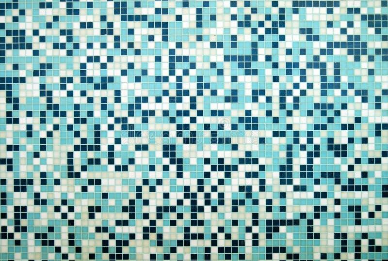 Modern blue and white stoneware `gresite` background. Squares geometric mosaic decorative fashion trend in architecture stock photo