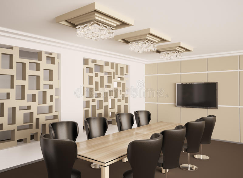 Modern Boardroom Interior 3d Render Stock Photography