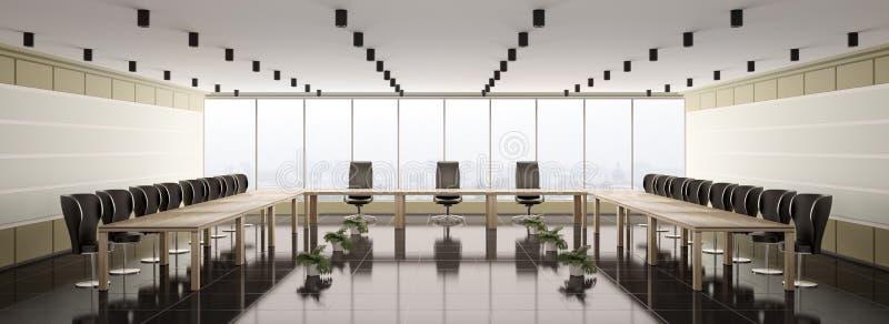 Modern boardroom interior panorama 3d vector illustration