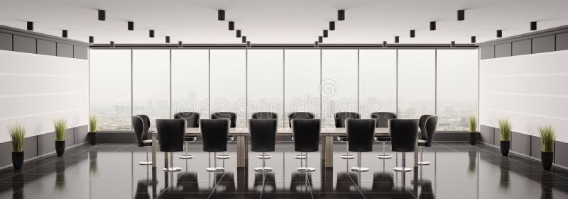 Modern boardroom panorama 3d render stock illustration