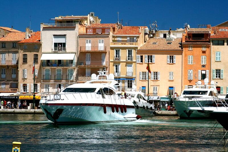 Boats moored at the port of St. Tropez stock photos