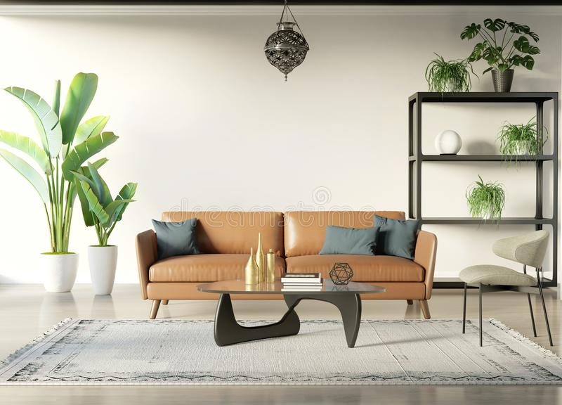 Modern bohemian style interior room with tobacco sofa royalty free illustration