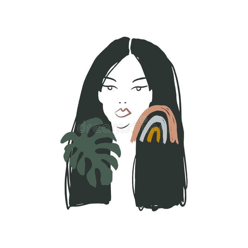 Modern Boho Pastel Terracotta Collage Line Desenhando Mulher Com Folha Olhando Rosto Cabeça Estilo Da Moda Bela Minimalista ilustração royalty free