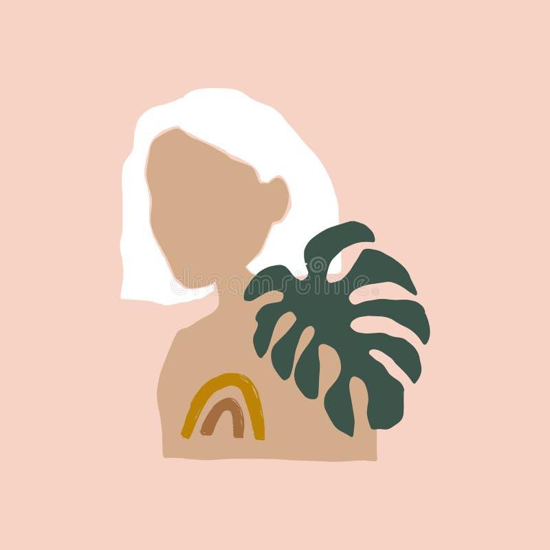 Modern Boho Pastel Terracotta Collage Line Desenhando Mulher Com Folha Olhando Rosto Cabeça Estilo Da Moda Bela Minimalista ilustração stock