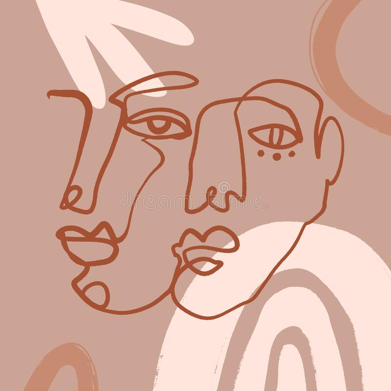 Free Modern Boho Pastel Terracotta Collage Line Drawing African Black Women Couple Twin Faces Hairstyle Fashion Beauty Minimalist Royalty Free Stock Photography - 169119967