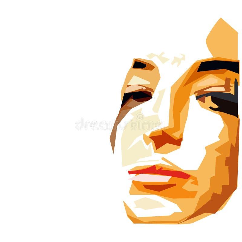 Modern Boho Pastel Woman Face Fashion Beauty Minimalist Vector Illustrazione grafica astratta Print Clipart Ritratto a royalty illustrazione gratis