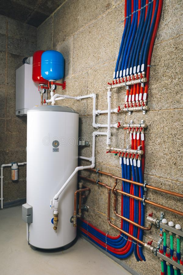 Modern boiler room independent heating system. Close-up view royalty free stock images