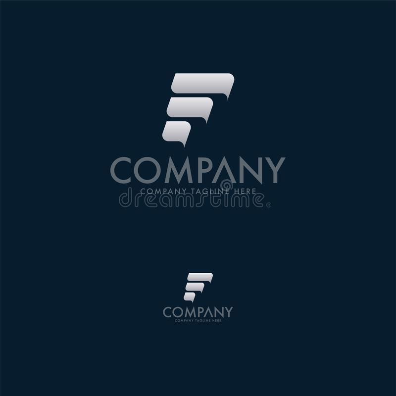 Modern bokstav F Logo Design Template royaltyfri illustrationer