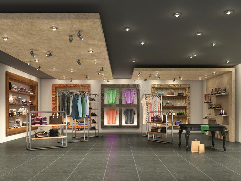 Modern boutique interior with clothes stock photos