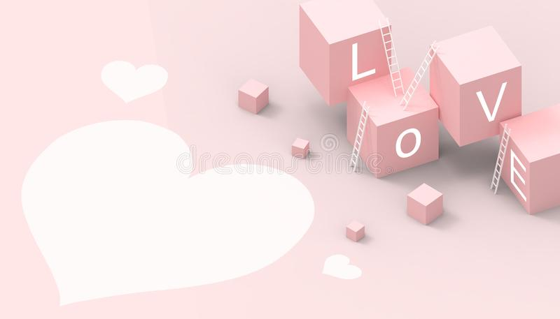 Modern Box Ideas Love Heart shape business  Concept and Game  on pastel Pink background. 3d rendering vector illustration