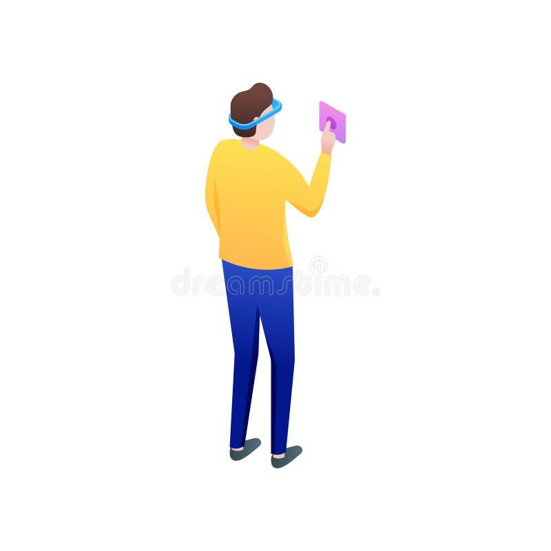 Modern boy start his travel in virtual reality world royalty free illustration