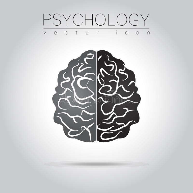 Modern Brain Sign of Psychology. Human. Creative style. Icon in vector. Design concept. stock illustration