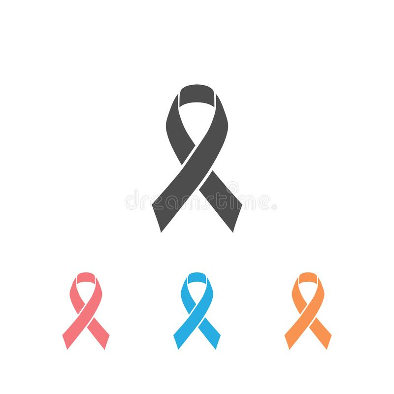 Modern breast cancer awareness icon set with ribbon colorful and elegant look. Vector royalty free illustration