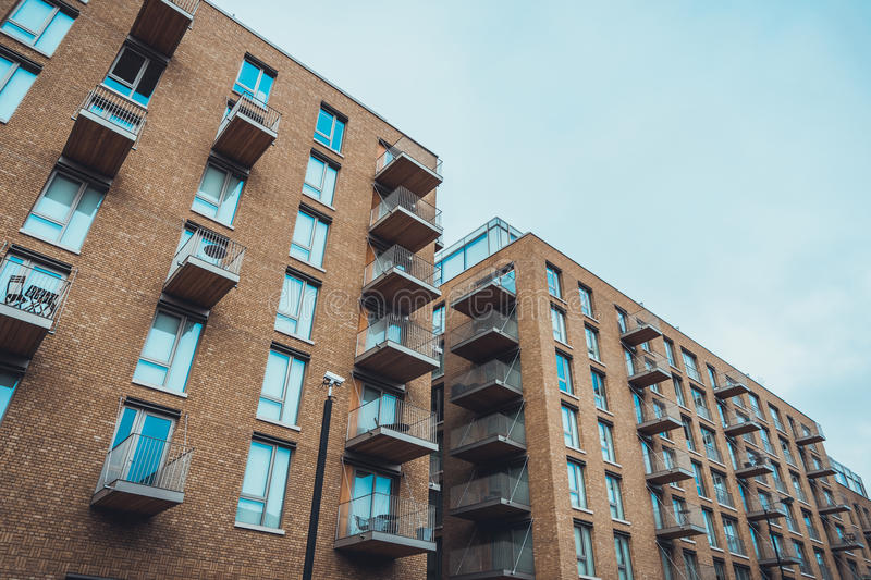 Download Modern Brick Apartment Buildings With Balconies Stock Photo    Image Of Brick, Balcony: