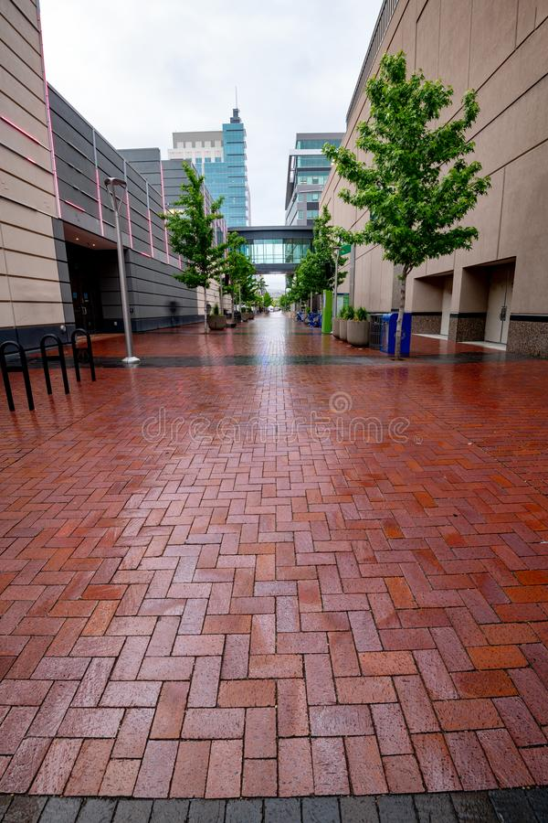 Modern Brick Sidewalk Leading Into A Downtown Meeting ...