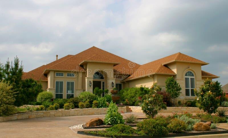 Modern Brick and Stucco House stock image