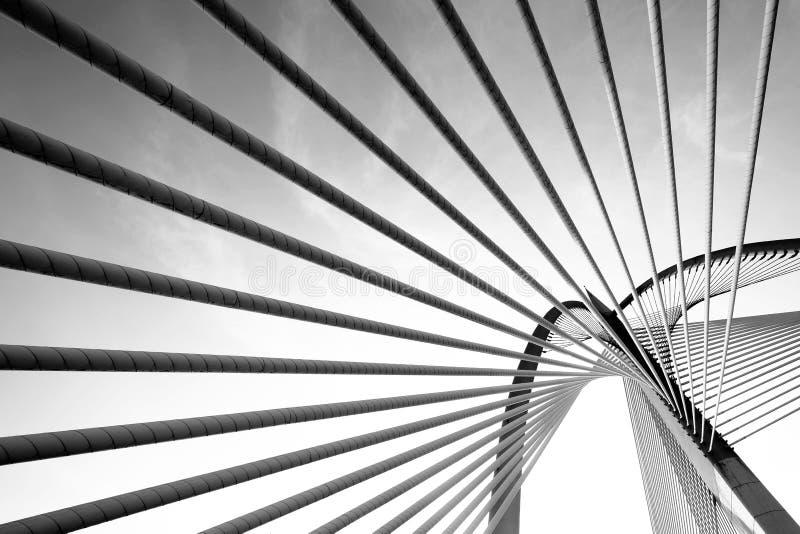 Modern bridge architecture at Putrajaya (Black and white) royalty free stock photos
