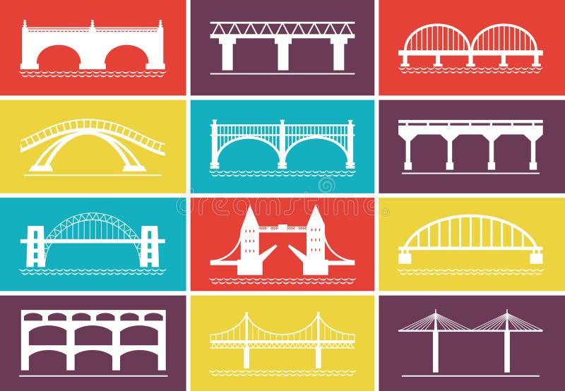 Modern Bridge Icons on Colorful Background Designs royalty free illustration