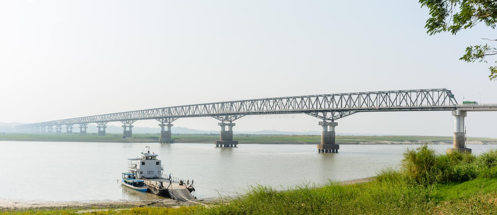 Modern bridge at Magway, Myanmar. It is joining between Minbu and Magway township, over the Irrawaddy river. Bridge name is `Irrawaddy Bridge Magway royalty free stock photos