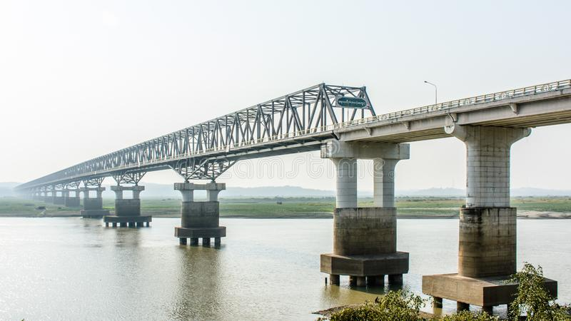 Modern bridge at Magway, Myanmar. It is joining between Minbu and Magway township, over the Irrawaddy river.  royalty free stock image