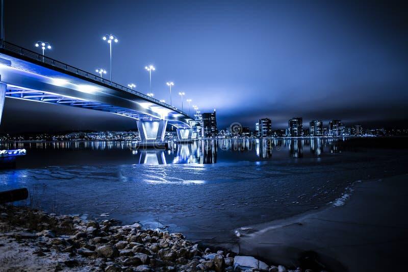Modern bridge at night stock image