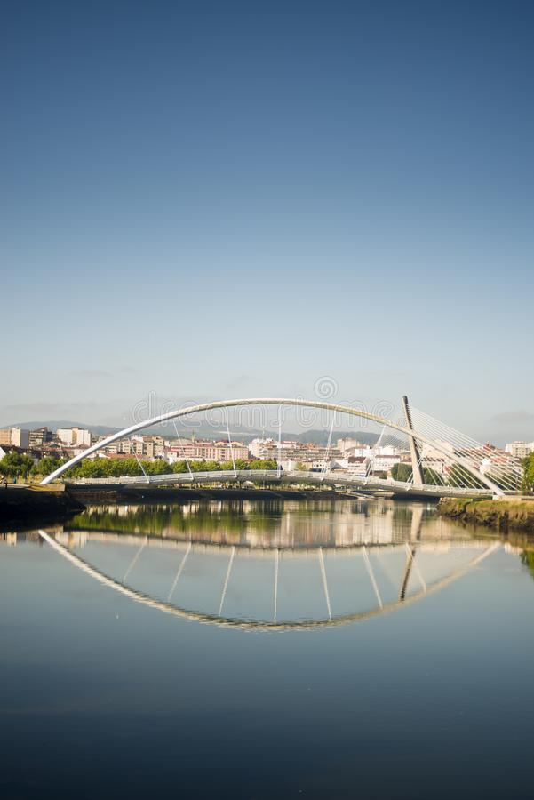 Bridge over the Lerez river in Pontevedra Spain. Modern bridge over the Lerez river in Pontevedra, Galicia Spain royalty free stock photography
