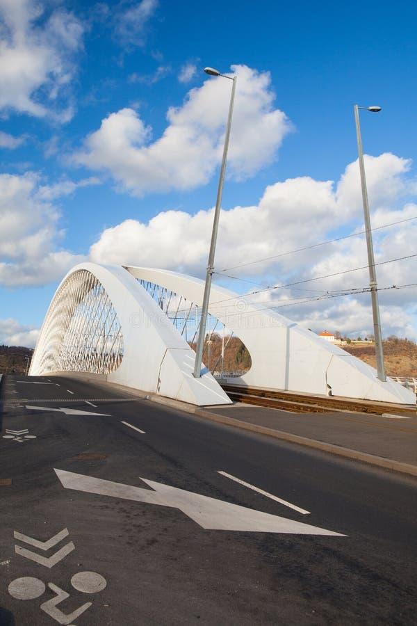 Modern bridge over the Vltava river in Prague. stock photo