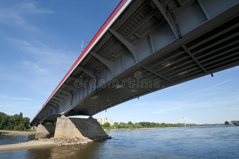 Modern bridge in Warsaw. Over Vistula river in Poland royalty free stock photo