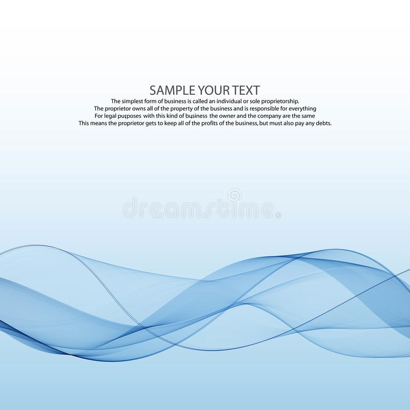Modern bright abstract elegant smoke wind airy graphic swoosh fashion transparent speed blue line over white background royalty free illustration