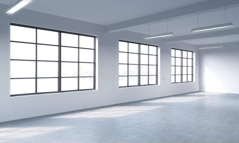 Modern bright clean interior of a loft style open space. Huge windows and white walls. Copy space the panoramic windows. vector illustration