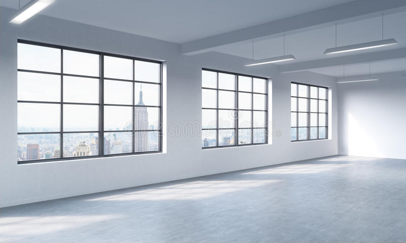 Modern bright clean interior of a loft style open space. Huge windows and white walls. New York panoramic city view. royalty free illustration