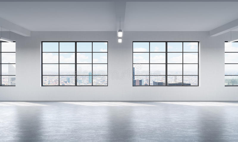 Modern bright clean interior of a loft style open space. Huge windows and white walls. New York panoramic city view. vector illustration