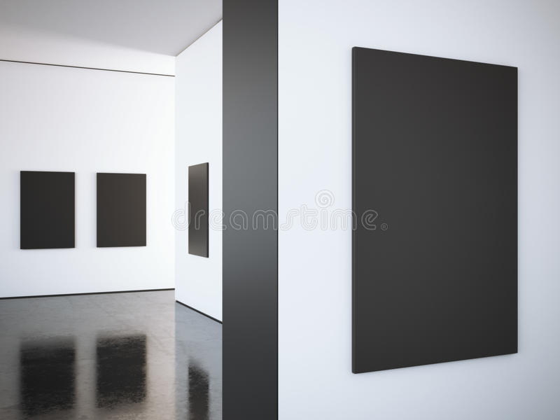 Modern bright gallery with black frames. 3d rendering royalty free stock photos