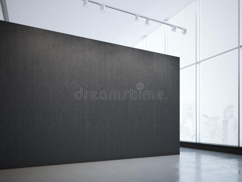 Modern bright gallery with black wall and spotlights. 3d rendering. Modern bright gallery with black wall and ceiling spotlights. 3d rendering royalty free stock image