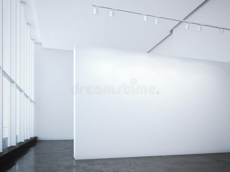 Modern bright gallery with white wall and spotlights. 3d rendering. Modern bright gallery with white wall and ceiling spotlights. 3d rendering stock photography