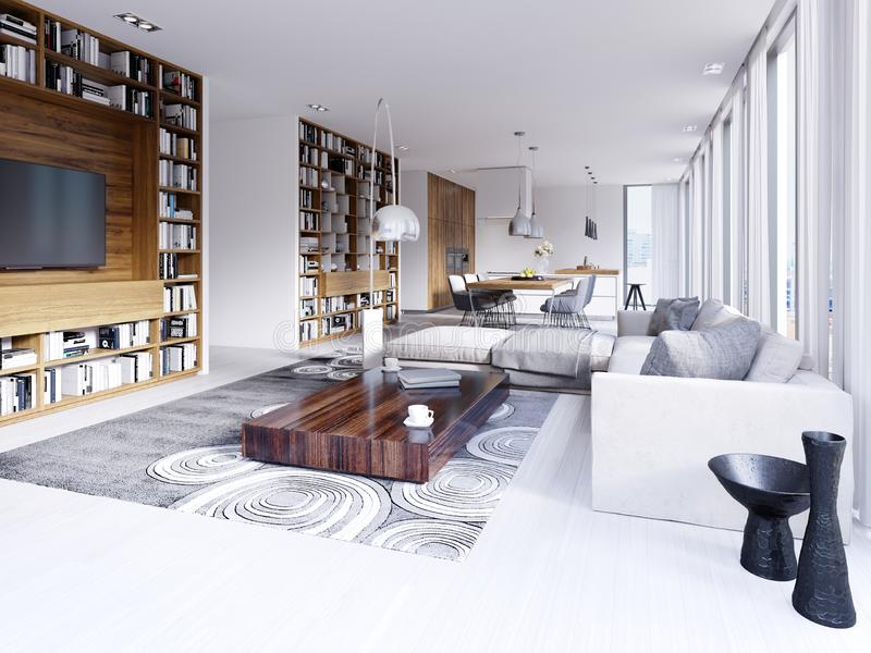 Modern bright interior in contemporary living room with corner sofa bookshelf and kitchen with dining area stock illustration