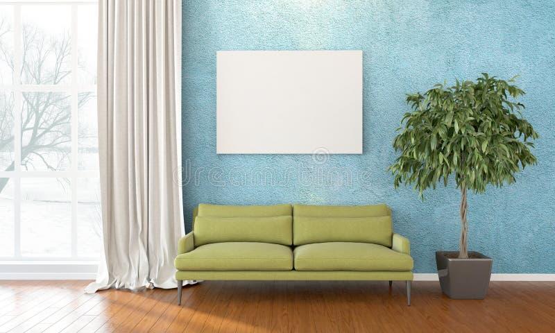 Modern bright interior . 3D render royalty free illustration