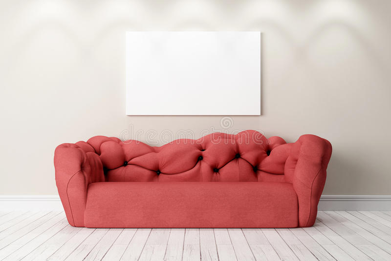 Modern bright interior. 3D render stock photography