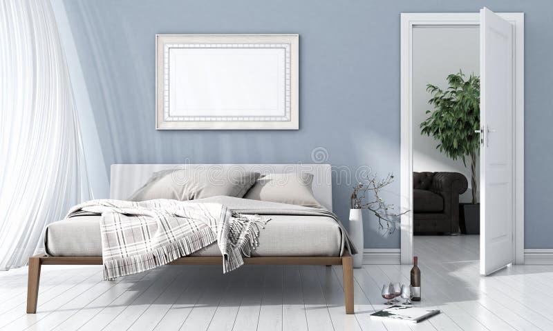 Modern bright interior. 3D render stock images