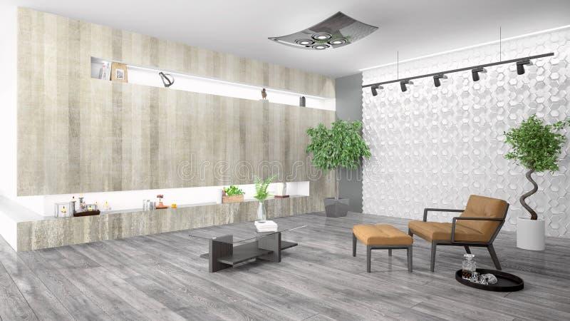 Modern bright interior . 3D rendering. Beautiful modern interior with armchair. 3D rendering vector illustration