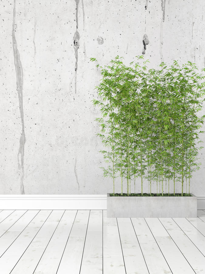 Modern bright interior . 3D rendering. Beautiful modern interior with bamboo. 3D rendering stock illustration